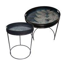 Set de 2 tables rondes 62 et 49 cm en métal noir et plateau bleu