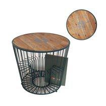 Table basse boussole 50x50x45 cm en bois et métal