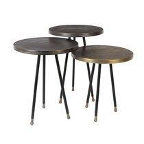 Lot de 3 tables d'appoint rondes 35,5 cm en aluminium