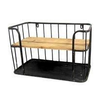 Etagère à suspendre 45x24x28 cm en bois clair et métal noir