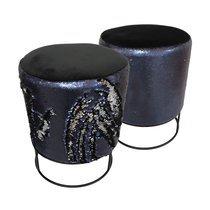 Set de 2 poufs 30x30x38 cm en sequins bleus et métal