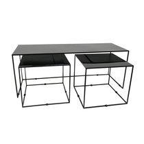 Set de 3 tables 120 et 45 cm en métal noir