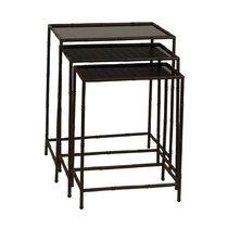 Set de 3 tables d'appoint 50, 45 et 40 cm plateau en verre et métal