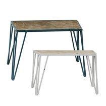 Set de 2 tables 75 et 65 cm avec plateau en bois et pieds blanc/bleu