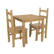 Ensemble table à manger 75 cm + 2 chaises en pin massif - SERGO