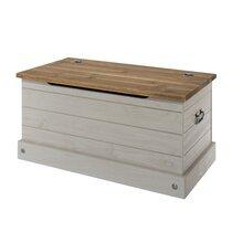 Coffre de rangement 90x48x44,5 cm gris et naturel - SERGO