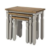 Lot de 3 tables gigognes gris et naturel - SERGO