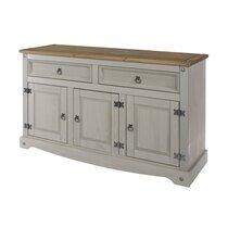 Buffet 3 portes et 2 tiroirs 132x43x81 cm gris et naturel - SERGO