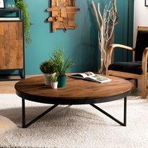 Table basse ronde 110 cm en teck recyclé pieds métal - APPOLINE