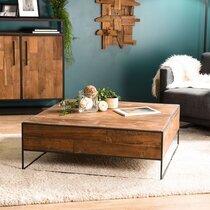 Table basse carrée 100 cm en teck recyclé et métal - APPOLINE