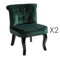 Lot de 2 fauteuils crapaud en velours vert - TOADY