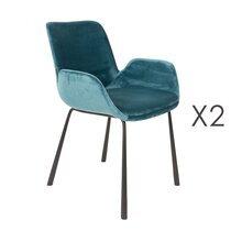 Lot de 2 fauteuils 59x62x79 cm en tissu bleu - BRIT