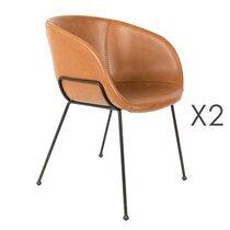 Lot de 2 chaises 56,5x55x77 cm en PU camel - FESTON