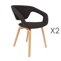 Lot de 2 chaises design en tissu noir et pieds naturel - FLEXBACK