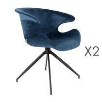 Lot de 2 chaises design en tissu bleu - LUMIA