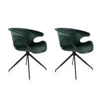 Lot de 2 chaises design en tissu vert - LUMIA