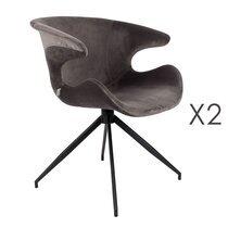 Lot de 2 chaises design en tissu gris - LUMIA