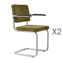 Lot de 2 chaises avec accoudoirs en tissu vert - RIDGE