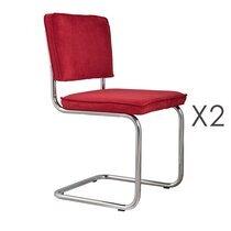 Lot de 2 chaises en tissu rouge - RIDGE