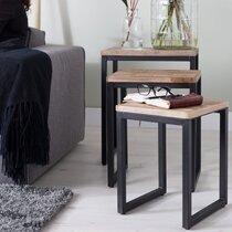 Lot de 3 tables d'appoint 46/38/31 cm en teck recyclé et métal