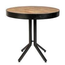 Table à manger ronde 75 cm en teck naturel et métal noir - MELTON