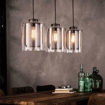 Suspension avec 3 lampes 100x20x150 cm en verre et métal argenté