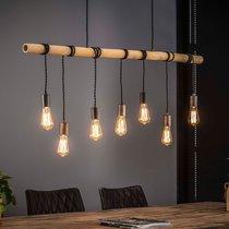 Suspension 7 lampes 120x150 cm en bambou et métal argent - HANGY