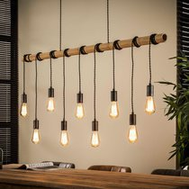 Suspension 9 lampes 140x150 cm en bambou et métal argent - HANGY