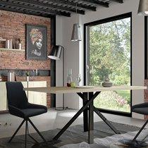 Table à manger 200x100x75 cm chêne et noir - SOREN