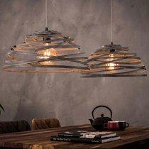 Suspension 2 lampes 140x50x150 cm en acier gris