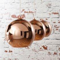 Suspension 3 lampes avec abat-jour globe cuivre