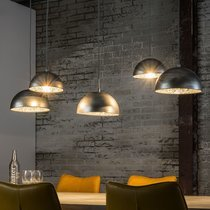 Suspension 5 lampes 123x54x150 cm en métal et miroir argenté