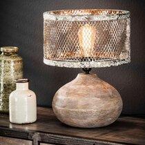 Lampe de table boule 31x40 cm en bois et cuivre