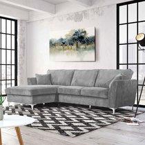 Canapé d'angle à gauche en tissu gris - BONITA