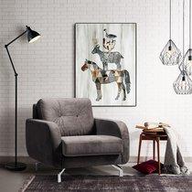 Fauteuil 85x92x77 cm en tissu gris clair - HYGGE