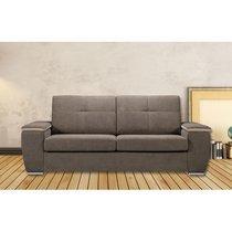 Canapé 3 places fixe en tissu gris - LOMEL