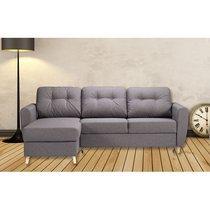 Canapé d'angle à gauche convertible avec coffre en tissu gris - YLIES