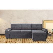 Canapé d'angle à droite convertible avec coffre en tissu gris - NOLLA