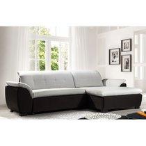 Canapé d'angle à droite convertible blanc et gris - POP