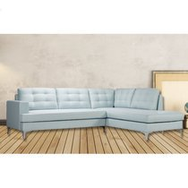 Canapé d'angle à droite convertible en tissu bleu clair - POSITANO