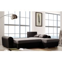 Canapé d'angle à droite convertible en tissu gris - OSTENDE
