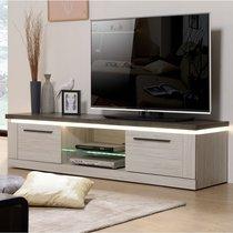 Meuble TV 2 portes 181x46x44 cm gris et béton - SENTIA
