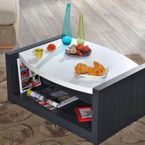 Table basse 90x68x40 cm noir et blanc brillant - ALOYS