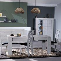 Table à manger avec allonge 180/260x90x76 cm chêne grisé - PAULA