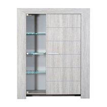 Vitrine 2 portes avec leds 130x45x162 cm chêne grisé - PAULA