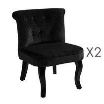 Lot de 2 fauteuils crapaud en velours noir - TOADY