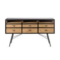 Buffet 155 cm 6 tiroirs et 2 niches en pin et métal - SHADY