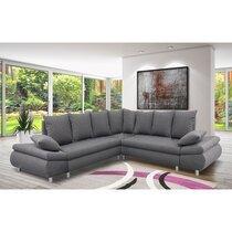 Canapé d'angle réversible et convertible en tissu gris - XENA