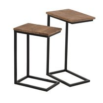 Lot de 2 tables d'appoint  en manguier et métal - PARK