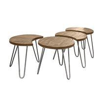 Lot de 4 tables basses rondes 50 cm en manguier naturel et inox